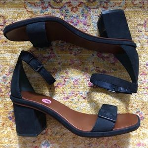 Tory Burch Navy Open Toe Block Heels Size 9